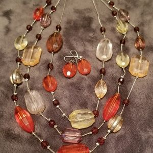 Jewelry - Three Tiered Gem Necklace & Earring set
